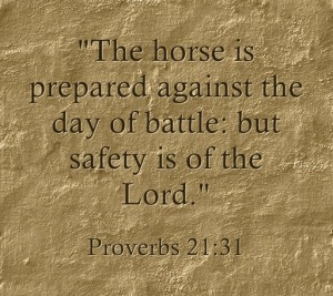 """The horse is prepared against the day of battle: but safety is of the Lord"" (Proverbs 21:31)."